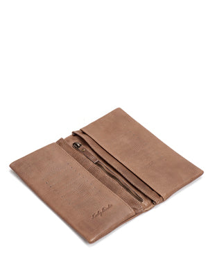 Brown Textured Leather Bifold Wallet