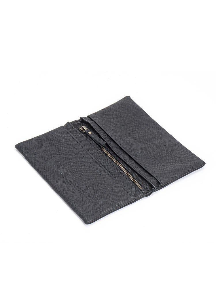 Black Snake Leather Slim Bifold Wallet