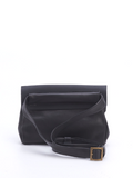 Black Leather Envelope Pouch Bag - Alma