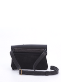 Textured Black Leather Envelope Crossbody Pouch