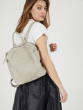 Stone Beige Small Leather Backpack