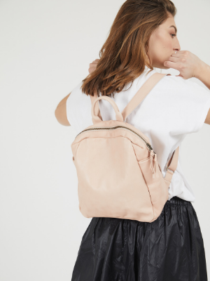 Feminine Nude Leather Mini Backpack
