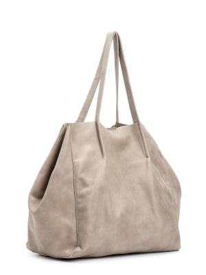 Beige Leather Slouchy Hobo Handbag Purse