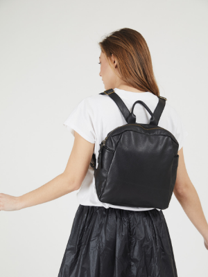 Mini Black Leather Backpack