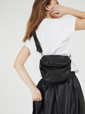Modern Everyday Black Leather Crossbody Pouch Bag