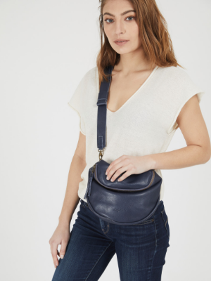Dark Blue Leather Crossbody Pouch Purse
