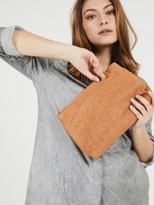 Textured Leather Camel Brown Clutch Purse