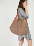 Oversized Brown Leather Shoulder Purse