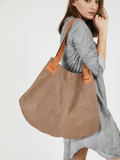 Large Matte Brown Leather Diaper Tote Bag