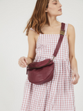 Boho Chic Bordeaux Leather Pouch Bag
