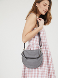 Stylish Grey Leather Shoulder Purse