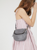 Grey Leather Slouchy Crossbody Purse