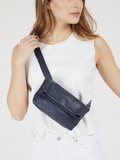 Dark Blue Leather Fanny Pack