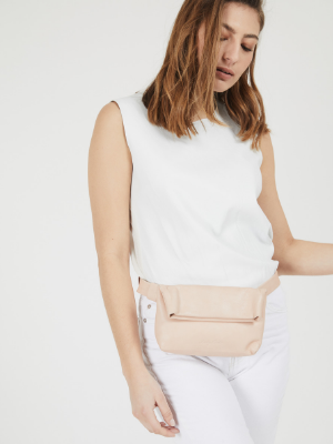 Nude Leather Fanny Pack Waist Bag
