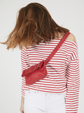 Colorful Classic Red Leather Fanny Pack