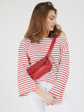 Stylish Red Leather Crossbody Fanny Pack