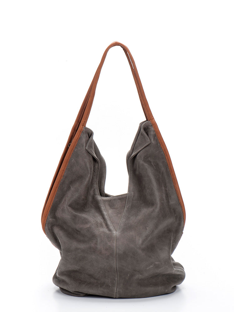 Dark Grey Brown Handles Leather Large Slouchy Tote Bag