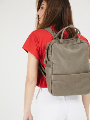 Taupe Leather Unisex Laptop Backpack