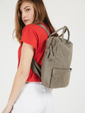 Dark Taupe Leather Backpack