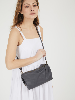 Grey Leather Slouchy Shoulder Crossbody Purse
