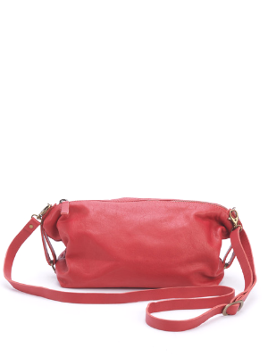 Slouchy Red Leather Crossbody Handbag