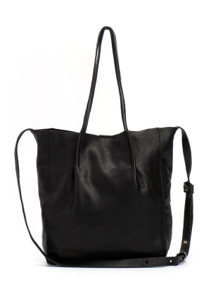 Bohemian Black Leather Tote Purse