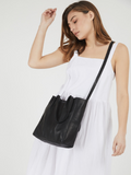 Classic Black Leather Tote Bag