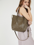 Small Olive Green Leather Tote Purse