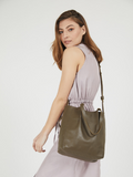 Olive Green Leather Shopper Tote Bag