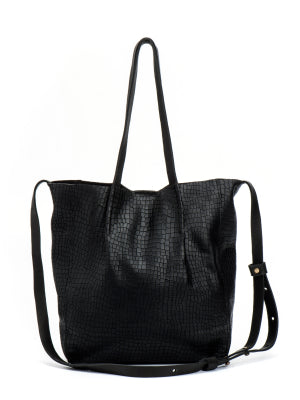 Textured Snake Design Black Leather Tote
