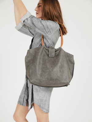 Slouchy Grey Leather Purse with Brown Handles