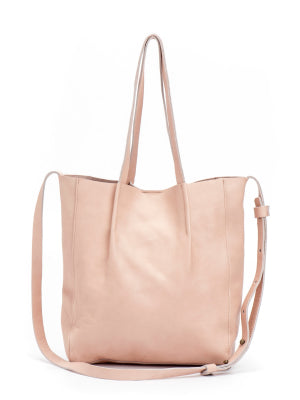 Small Nude Leather Crossbody Tote Shoulder Purse