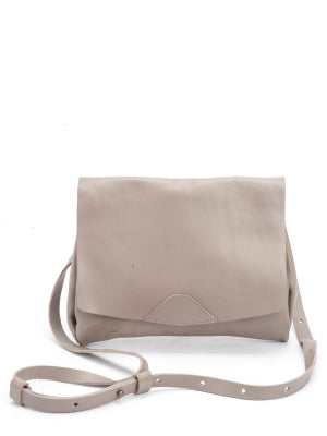 Classic Taupe Leather Envelope Crossbody Bag