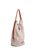 Medium Beige Leather Shoulder Tote Bag
