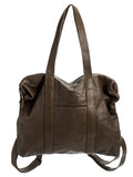 Olive Green Leather Diaper Backpack Purse Laptop