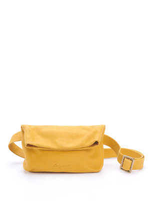 Yellow Leather Crossbody Fanny Pack