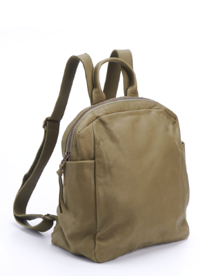Urban Small Olive Green Leather Backpack