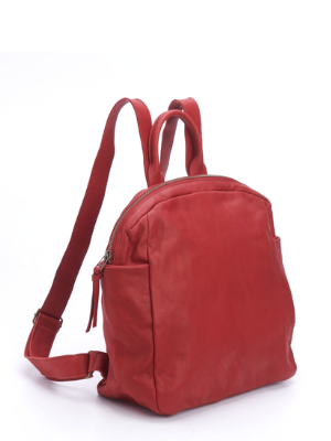 Small Red Leather Everyday Backpack