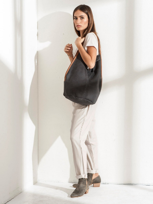 Dark Grey Leather Tote Bag with Brown Handles