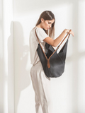 Unique Dark Grey Leather Tote Bag with Brown Handles
