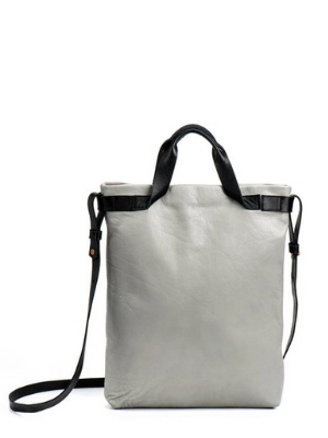 "15"" Grey Leather Crossbody Laptop Bag"