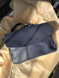 Dark Blue Leather Envelope Pouch Bag - Alma