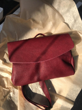 Burgundy Leather Envelope Pouch Bag - Alma