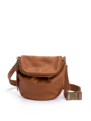 Tan Brown Leather Rustic Pouch Bag