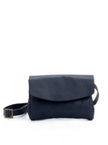 Navy Blue Leather Envelope Crossbody Purse