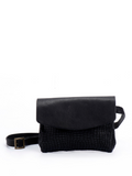 Textured Black Leather Envelope Clutch