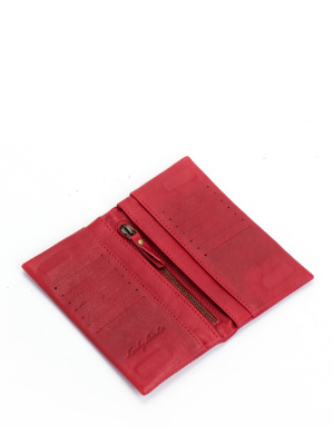 Small Red Leather Bifold Wallet