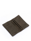 Long Dark Olive Green Leather Bifold Wallet
