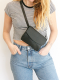 Small Envelope Black Textured Crossbody Leather Bag