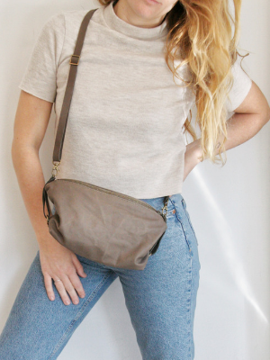 Taupe Leather Slouchy Crossbody Purse